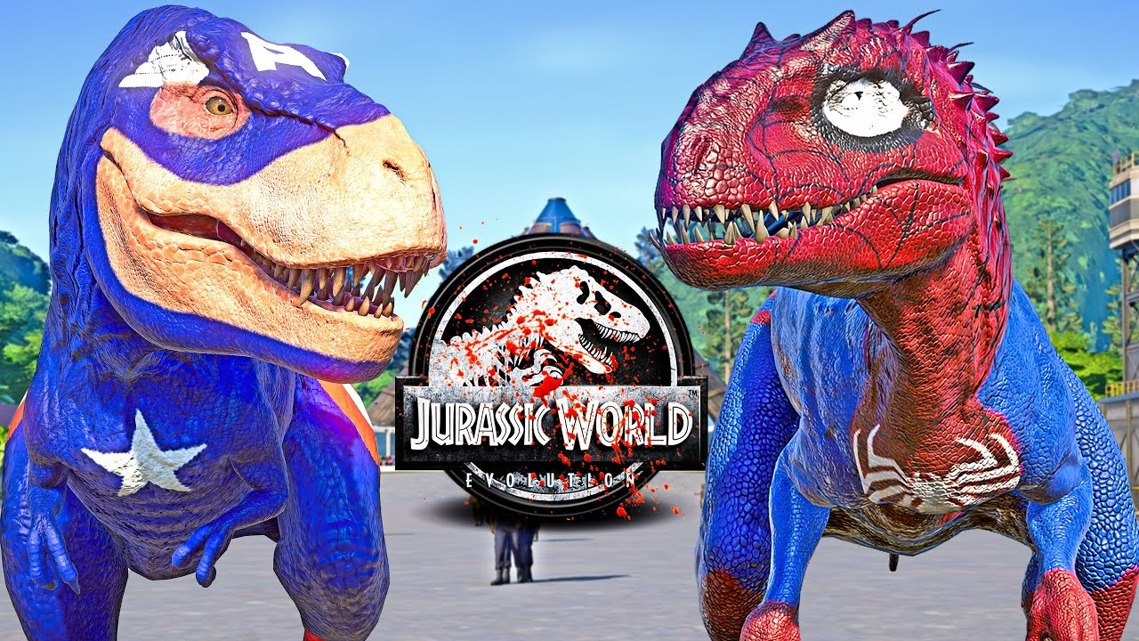 Captain T-REX vs SPIDERMAN I-REX, BATMAN, IRON MAN Dinosaurs Fight 🌍 JURASSIC WORLD EVOLUTION