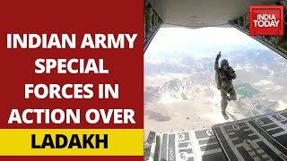 Indian Army Paratroopers Jump Out of C-130J Super Hercules Over Ladakh
