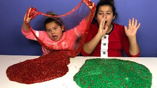 1 GALLON OF CHRISTMAS FLOAM SLIME VS 1 GALLON OF CHRISTMAS FLOAM SLIME - MAKING GIANT SLIMES