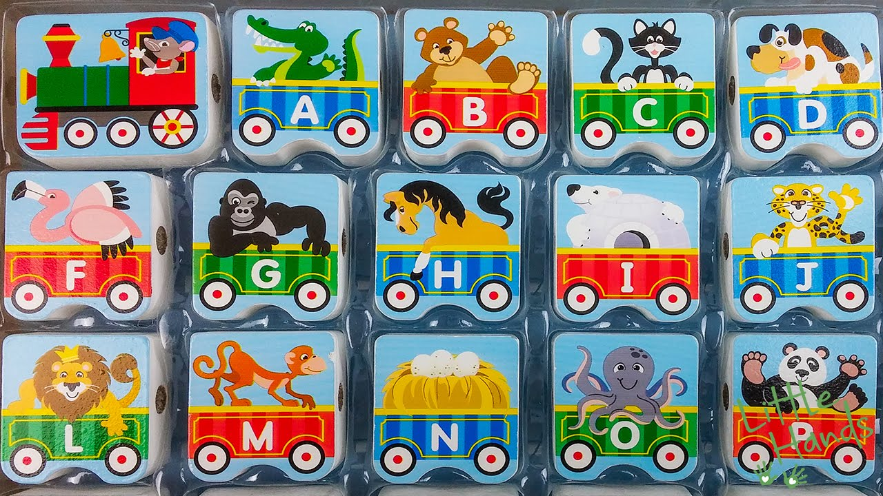 Abc Alphabet Train Lacing Beads For Toddler Kids Wood Toys
