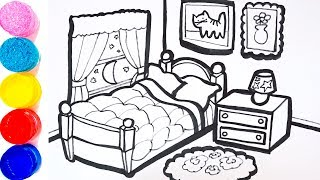 Drawing and Coloring Sleeping Room Livingroom Drawing and Coloring Pages for Kids YouTube