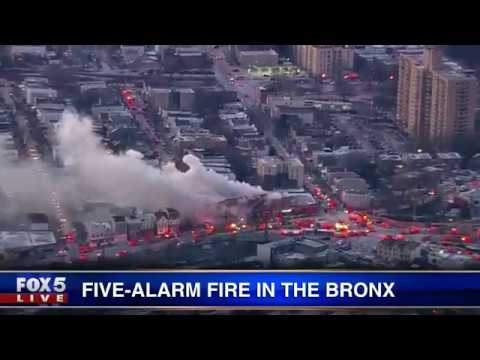 Five-alarm fire in the Bronx
