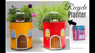 DIY Fairy House Planter out of waste Paint Jar / Spring Garden Decor Ideas