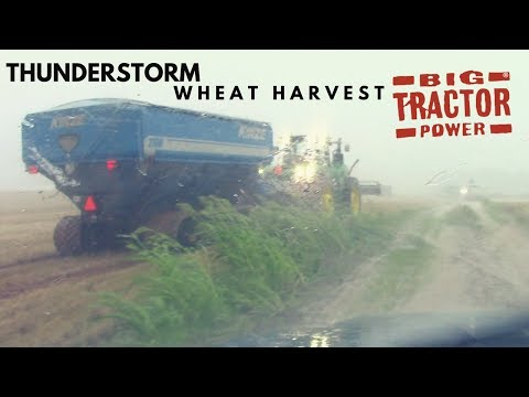 A Big Thunderstorm Stops 9 Combines in Wheat Harvest