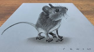 CUTE MOUSE ILLUSION - How to Draw 3D Mouse - Trick Art on Paper