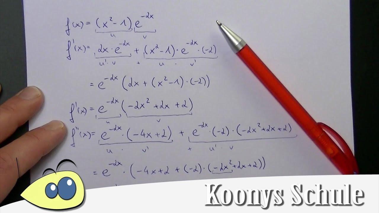 Ableitungen, Nullstellen und Extrempunkte bei e-Funktion, Beispiel ...
