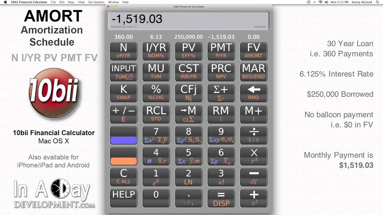 financial calculator amort amortization schedule 10bii mac os x