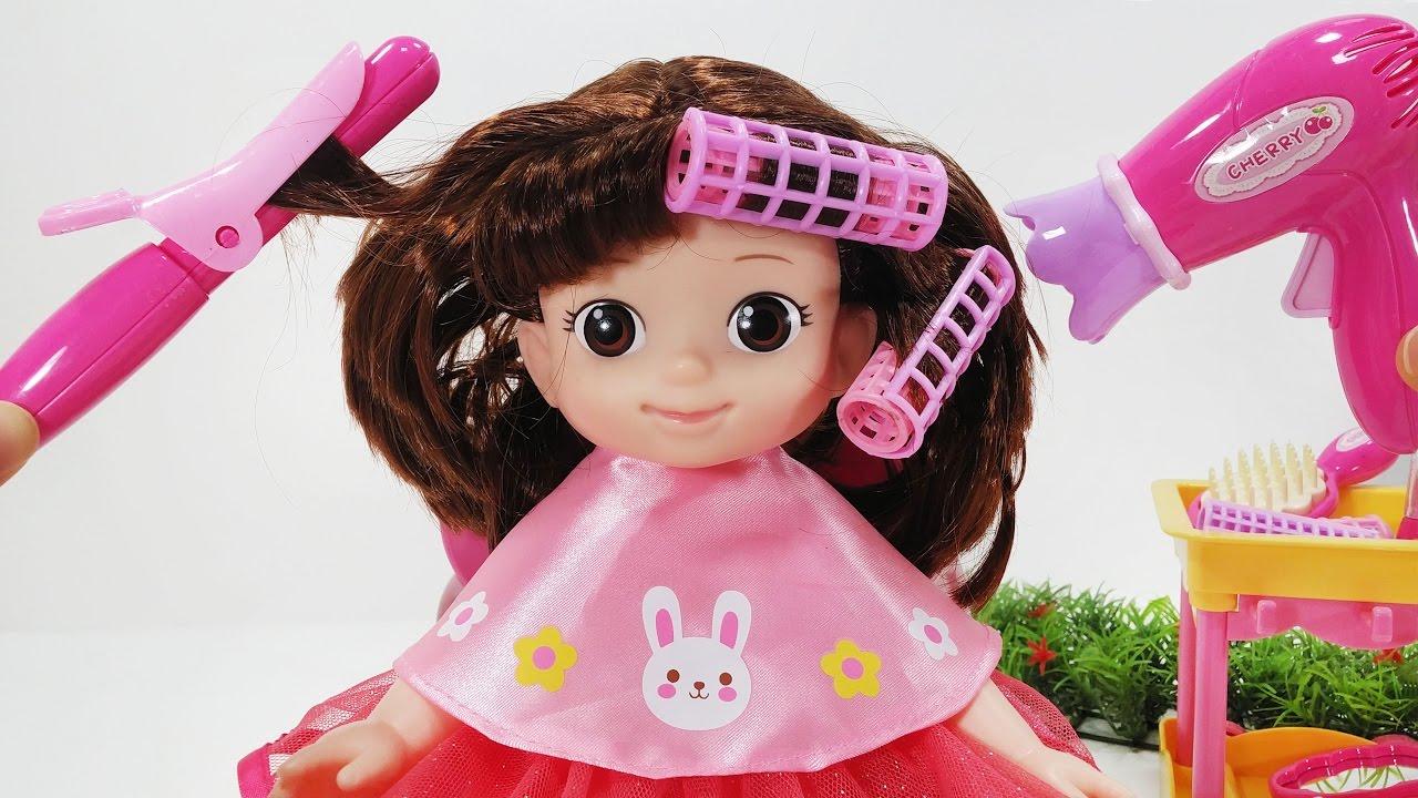 콩순이와 캐리 체리의 드라이기가 있는 미용실 놀이 장난감 아기인형 놀이 Baby Doll Hair