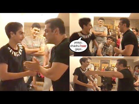 Salman Khan Looses Game Against Nephews 2 See Them Happy-ArbaazKhanSon Nirvan,SohailKhanSon Arhaan
