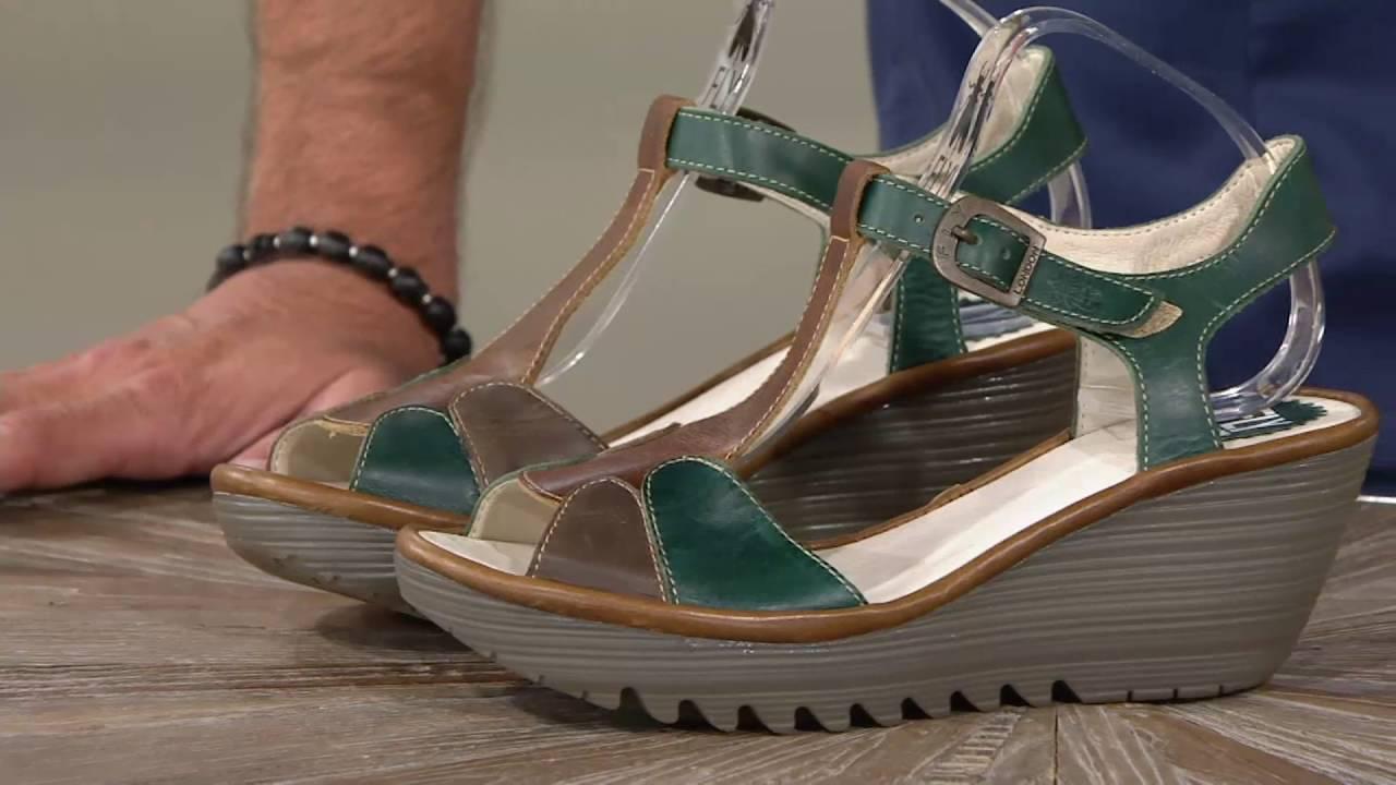 220881da3f86 FLY London Leather Adj. T-Strap Wedge Sandals - Yila on QVC - YouTube