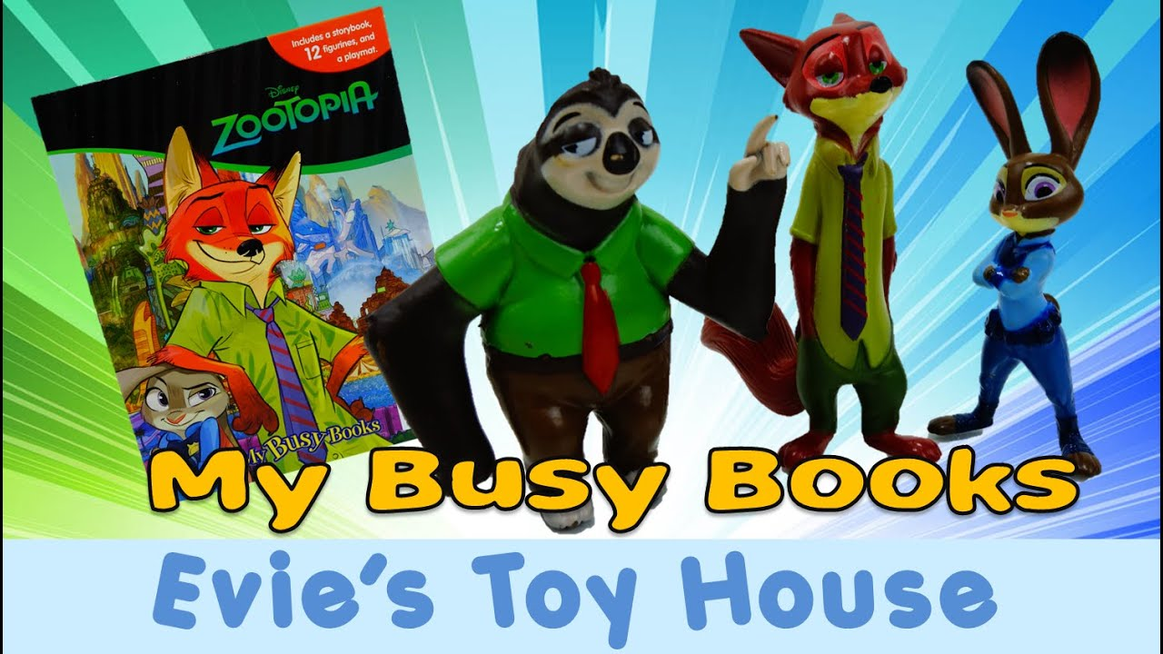 12 Character Figurines /& Playmat Disney Zootropolis My Busy Book