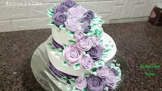 Decorating//Beautiful Two-tier Ice Cream Cake(52) Trang trí bánh kem hai tầng đẹp mắt