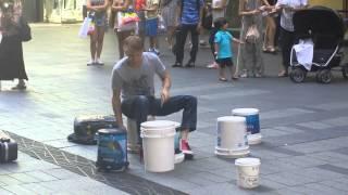 Insane drummer at Pitt Street, Sydney