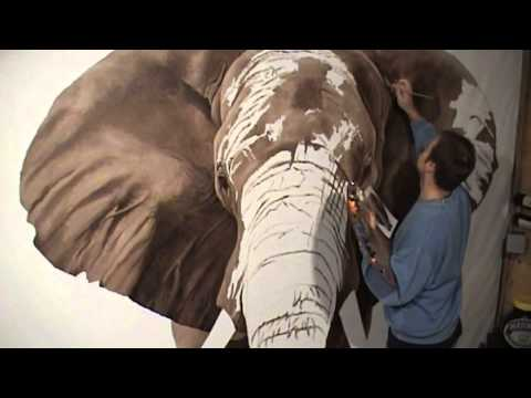 """Tembo"" the life-size oil painting of an African elephant by wildlife artist Richard Symonds"