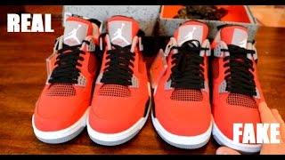 "Air Jordan 4 IV Retro ""Toro"" Red Real vs Fake Comparison"