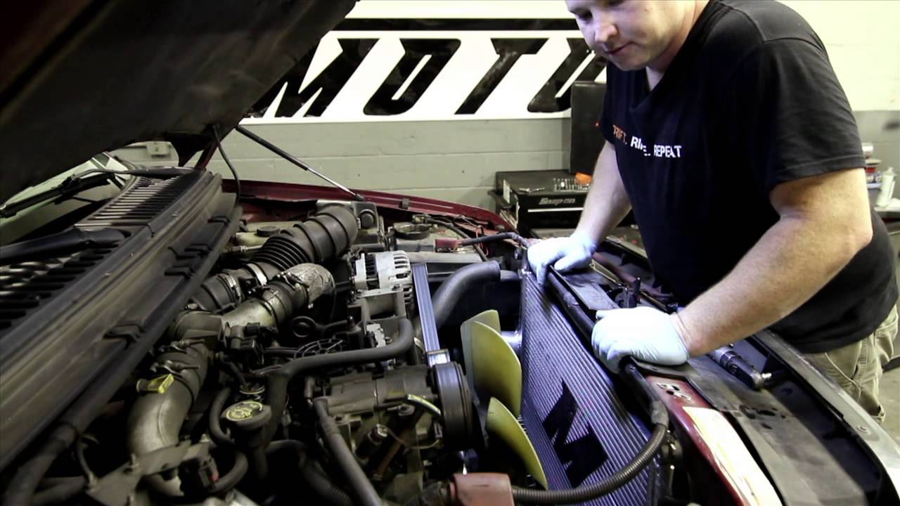 how to install mishimoto 1999 2003 ford powerstroke 7 3l performance intercooler [ 1280 x 720 Pixel ]