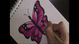 how to draw a butterfly - easy version for beginners