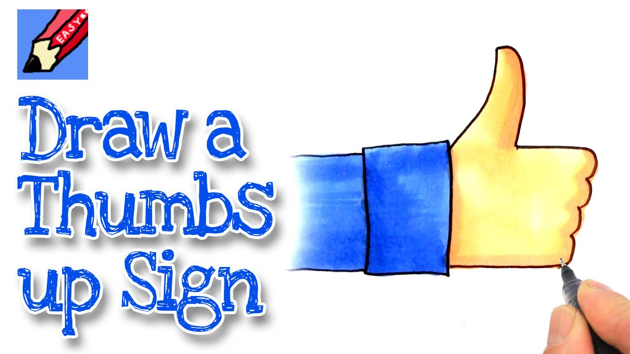 how to draw a facebook type thumbs up sign real easy - youtube