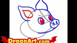 How to draw a simple pig, step by step