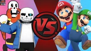 SANS and PAPYRUS vs MARIO and LUIGI! REMATCH! (Undertale vs Nintendo) Cartoon Fight Club Episode 125