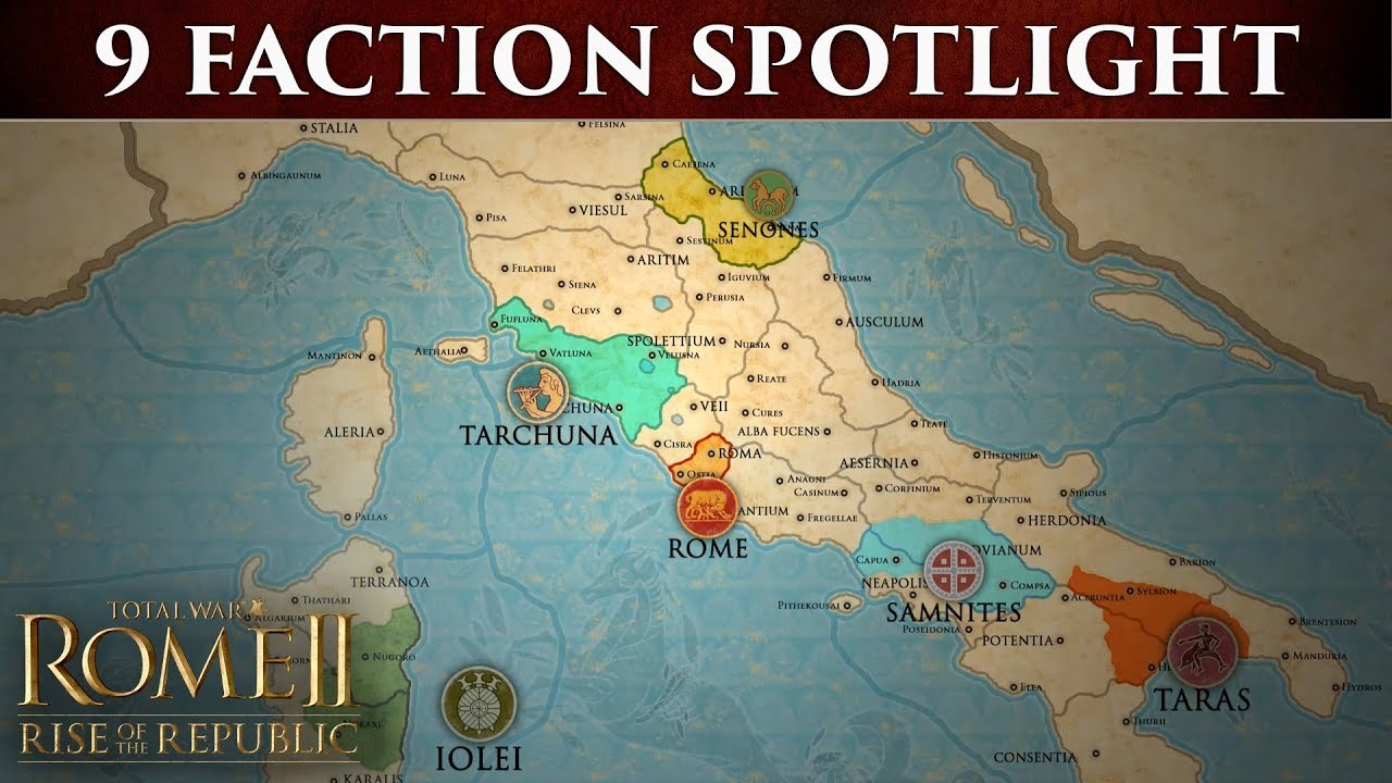 Total war: rome 2 the 9 factions of rise of the republic youtube.