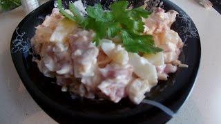 Сказочно вкусный салатик с копченой курицей и ананасом