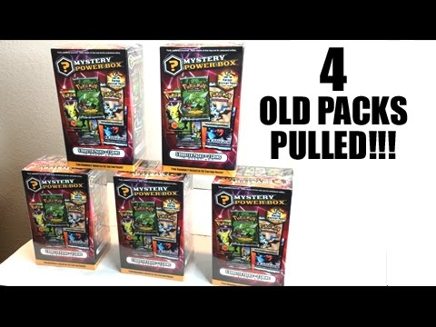 4 OLD PACKS PULLED IN A ROW! - Opening 5 Pokemon MYSTERY POWER BOXES!