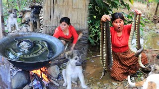 survival in the forest - Cooking snake for dog Eating delicious EP.01