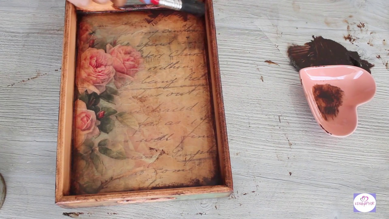 Vintage Tepsi Yapımı Ahşap Boyama Tepsi Yağlı Boya Eskitme Youtube
