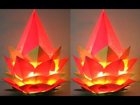 DIY Diwali Lamp 2018 : How to Make Amazing Paper Lantern of Lotus Shape | Diwali Lampshade