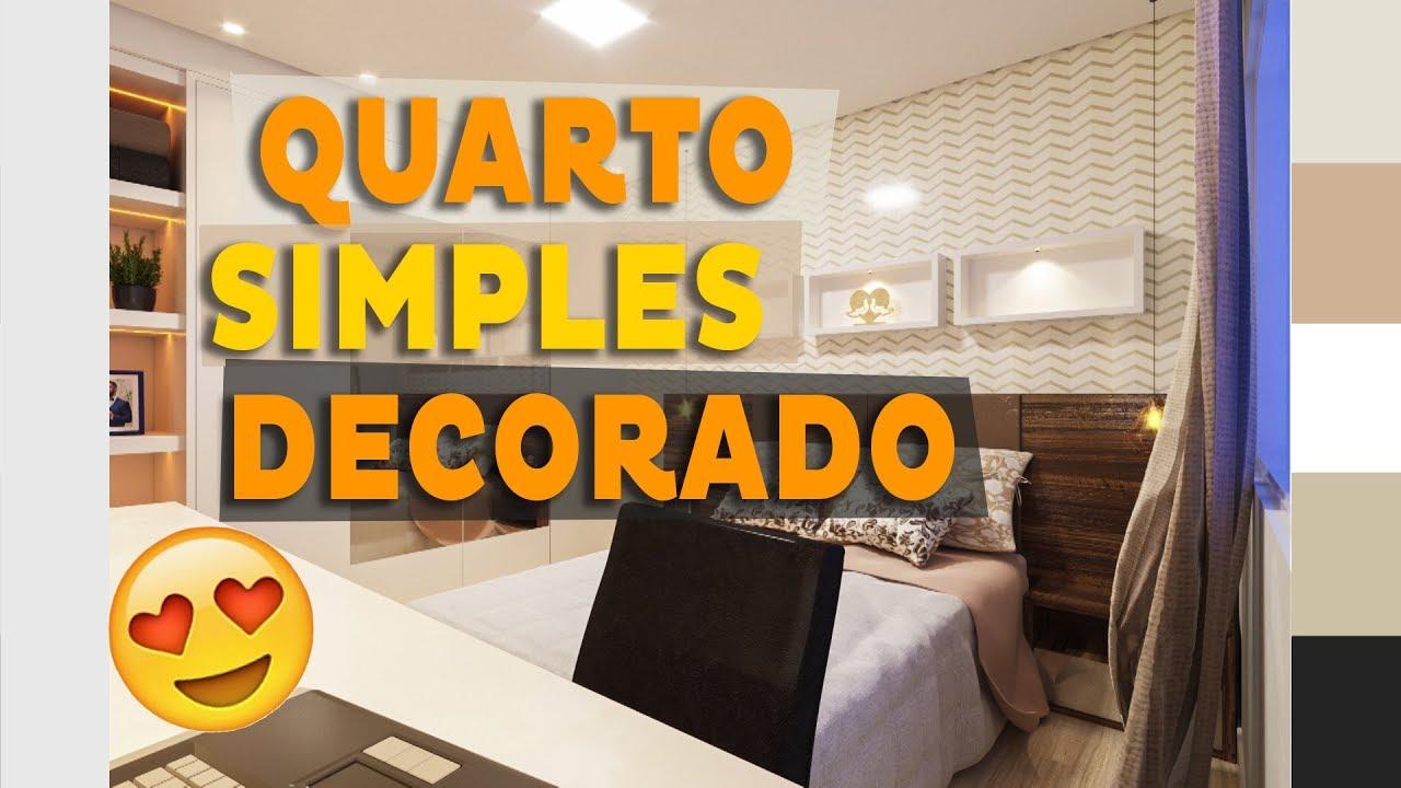 Quarto de Casal Simples e Bonito Decorado Apartamento Decorado #08 YouTube -> Decoração De Apartamento Simples E Bonito