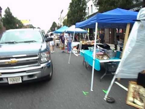 Rutherford NJ Street Fair Set Up Labor Day Antique Show - 9/2/13