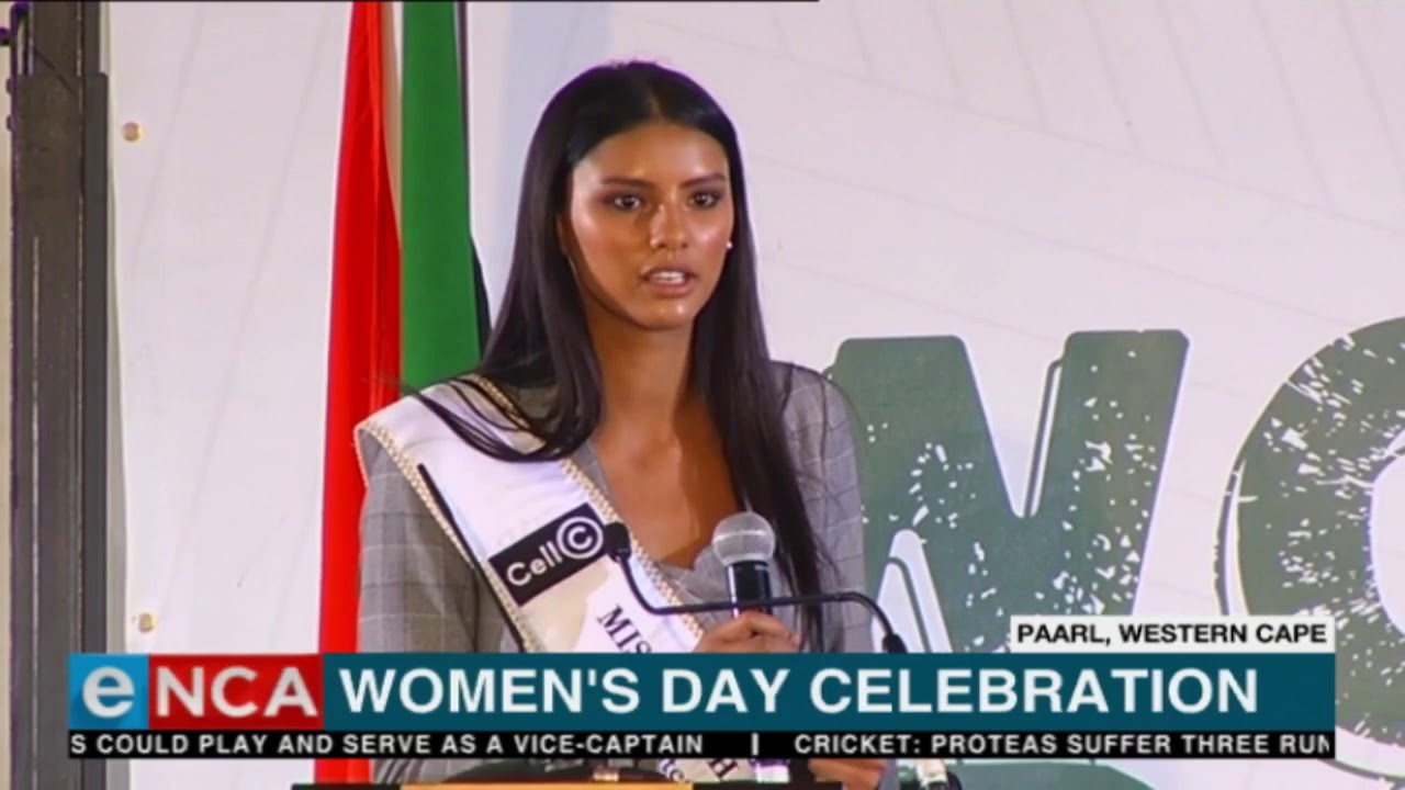Miss South Africa at official Women's Day celebrations.