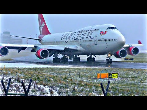 "High Wind & Heavy Snow at Manchester Airport - ""The Beast From The East"" 