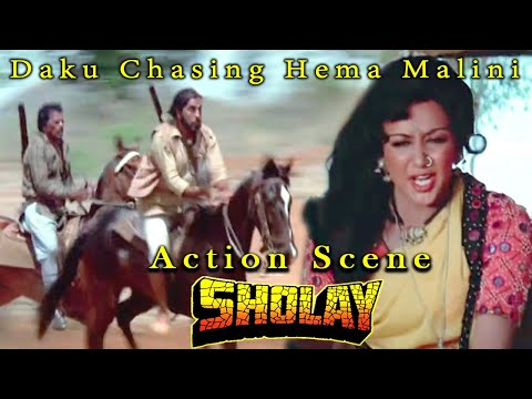 Daku Chasing Hema Malini | Action Scene | Sholay Hindi Movie