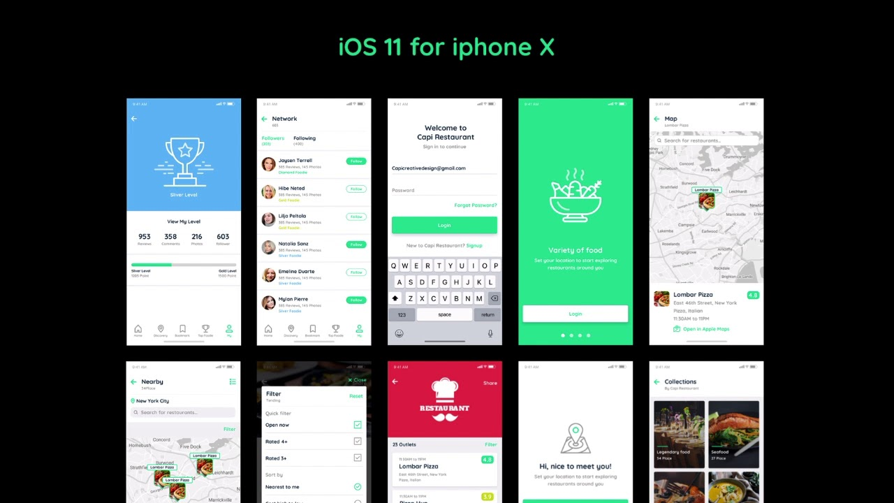Capi Restaurant 40+ iOS UI Kit Sketch and Photoshop