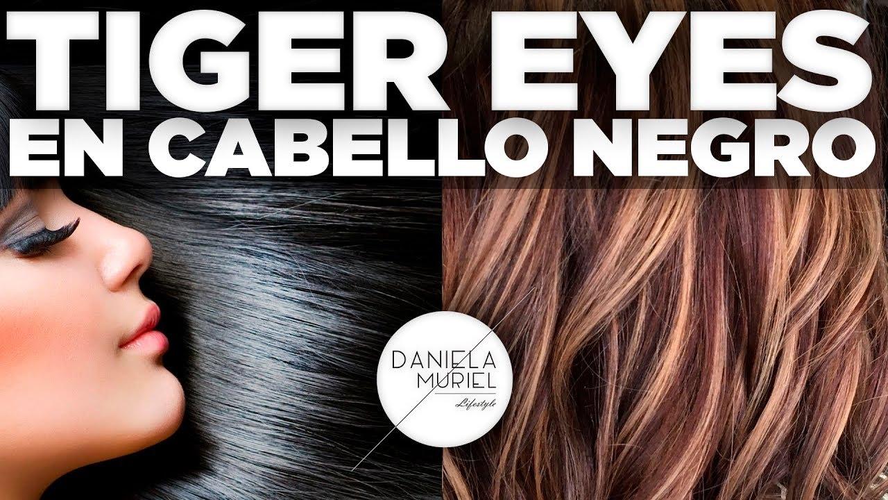 MECHAS TIGER EYES EN CABELLO TINTURADO DE NEGRO  DANIELA