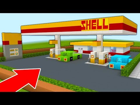 """Minecraft Tutorial: How To Make A Shell Gas Station """"Petrol Station Tutorial"""" 2020 City Build"""