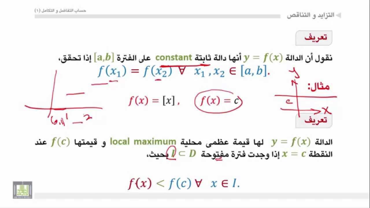 حساب التفاضل والتكامل - الوحدة 5 : الدالة المتزايدة والمتناقصة - 2 - increasing and decreasing