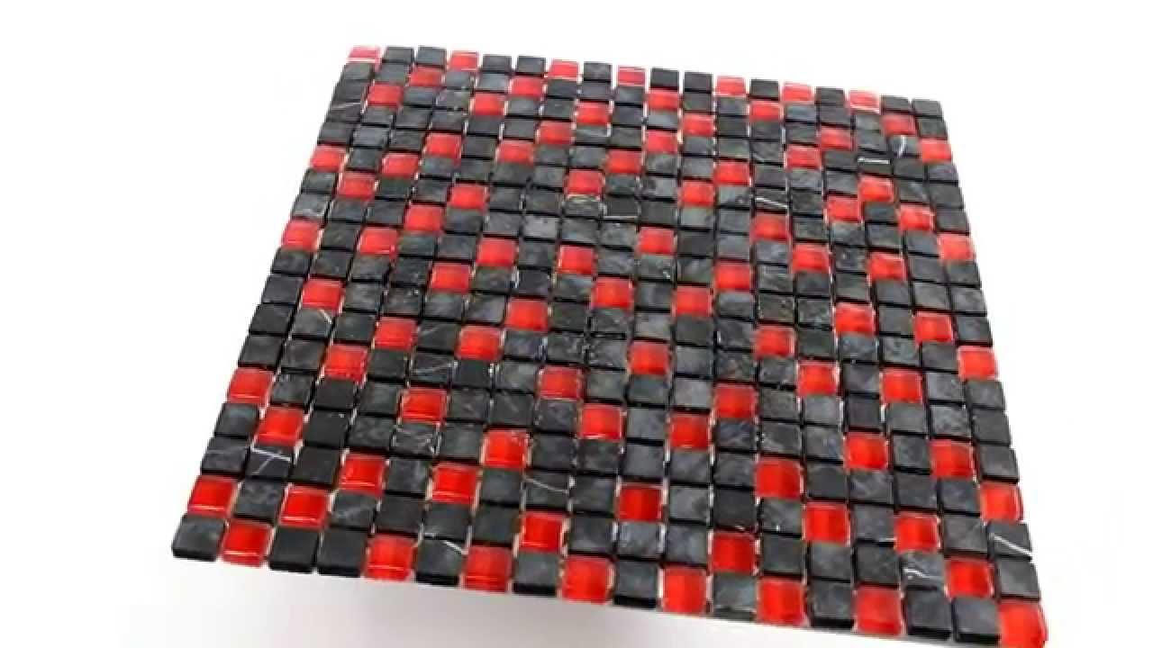 glas marmor mosaik fliesen 15x15x8mm schwarz rot youtube. Black Bedroom Furniture Sets. Home Design Ideas
