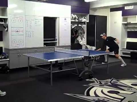 Anze Kopitar vs. Justin Williams in locker room ping-pong ba