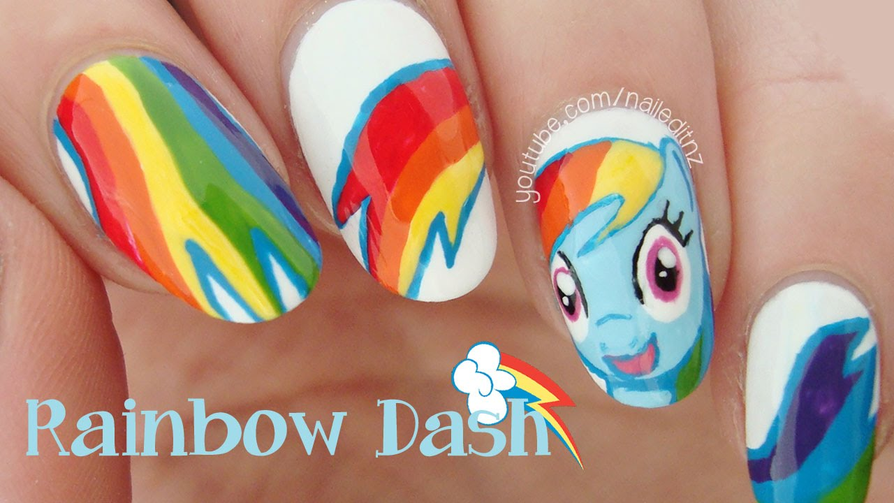 Rainbow Dash Nails | My Little Pony - YouTube