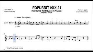 21 de 30 Popurrí Mix Partituras Populares Infantiles de Saxo Tenor La Reina Berenguela