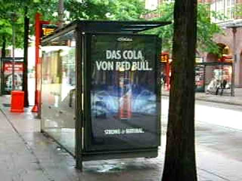 Hamburg, Germany - bus stop scrolling advertisement