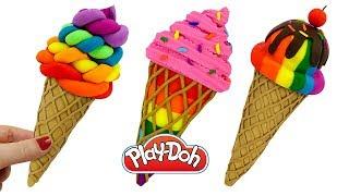 DIY How to Make Play-Doh Rainbow Waffle Cone Ice Cream