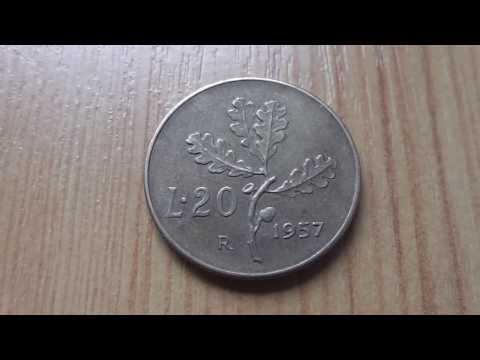 L.20 coin of the Italian Lira from 1957 in HD