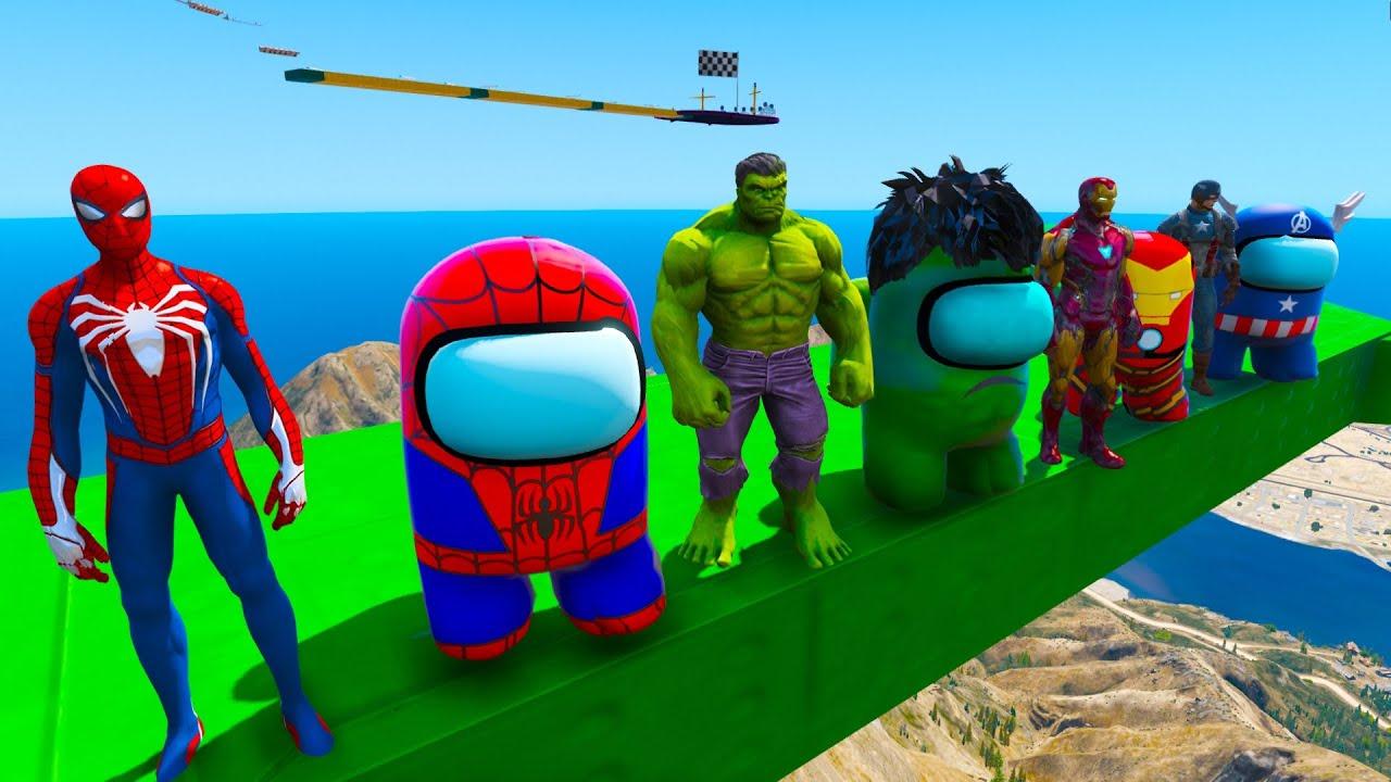 Download Among US SpiderMan Among-Hulk Among-Ironman and Among-Captain America Moto quest GTA V