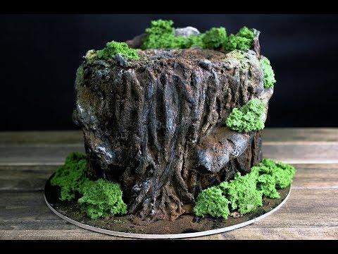 Как оформлять торт пенек с видео