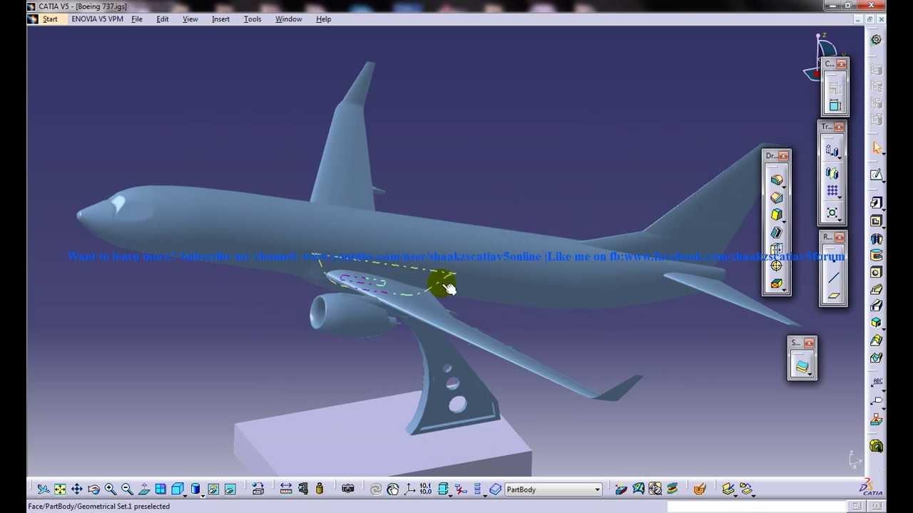 Catia V5 Tutorial Boeing 737 800 Vertical Stabilisers