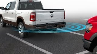 The 2019 Ram 1500 Perpendicular Park Assist with Reverse Stop feature